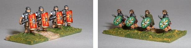 Left: Early Imperial Legionary advancing (TR1) Right: Early Imperial Auxiliary running (TR5)