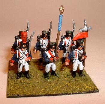 French Flank Company (FR2), Fusiliers (FR1), Standard Bearer (FR6) and NCO (FR3).