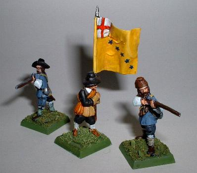 Left and right: Musketeers firing (R33) Centre: Standard bearer (R83)