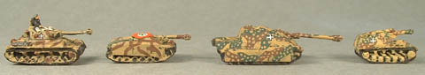 WWTG24 Panzer IV F, WWTG33 StuG III G with aprons, WWTG39 Jagdpanther, WWTG38 Wespe