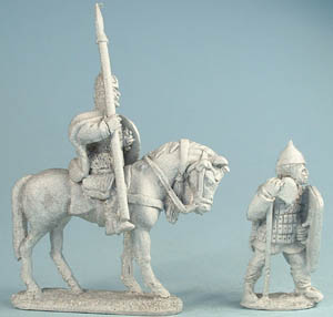 M49 Mounted 11-12th C. Russian or Polish HC with lance and axe, M53 Polish or Russian infantry in studded leather or lamellar armour with spear and axe
