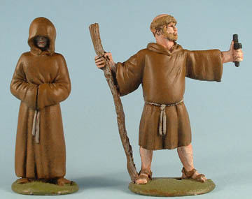 Hooded Monk, Fat Friar with cross & staff