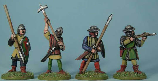 M35 Unarmoured infantry advancing with spear and kite shield, M36 Infantry in tunic or gambeson with axe, M39 Heavy infantry advancing with spear, M42 Heavy infantry crossbowman firing