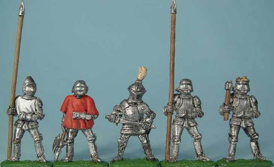 M55a 15th C. dismounted knight with lance, M56a 15th C. dismounted knight with axe, M57a 15th C. dismounted knight, M60a dismounted knight with lance, M61a dismounted King
