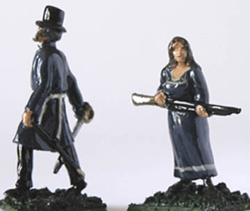 LWFT 7 Officer/Leader with sword, in Top hat and long coat, LWFT 9 Lady in long dress with rifle/musket
