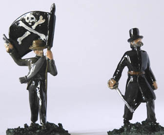 LWFT 8 Standard bearer with pistol in fedora hat, LWFT 7 Officer/Leader with sword, in Top hat and long coat