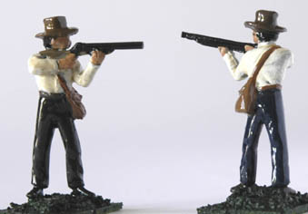 LWFT 4 Standing firing in fedora hat and short jacket, open hands to take musket, rifle or shot gun