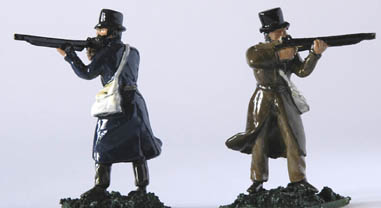LWFT 3 Standing firing in long coat and top hat, open hands to take musket, rifle or shot gun